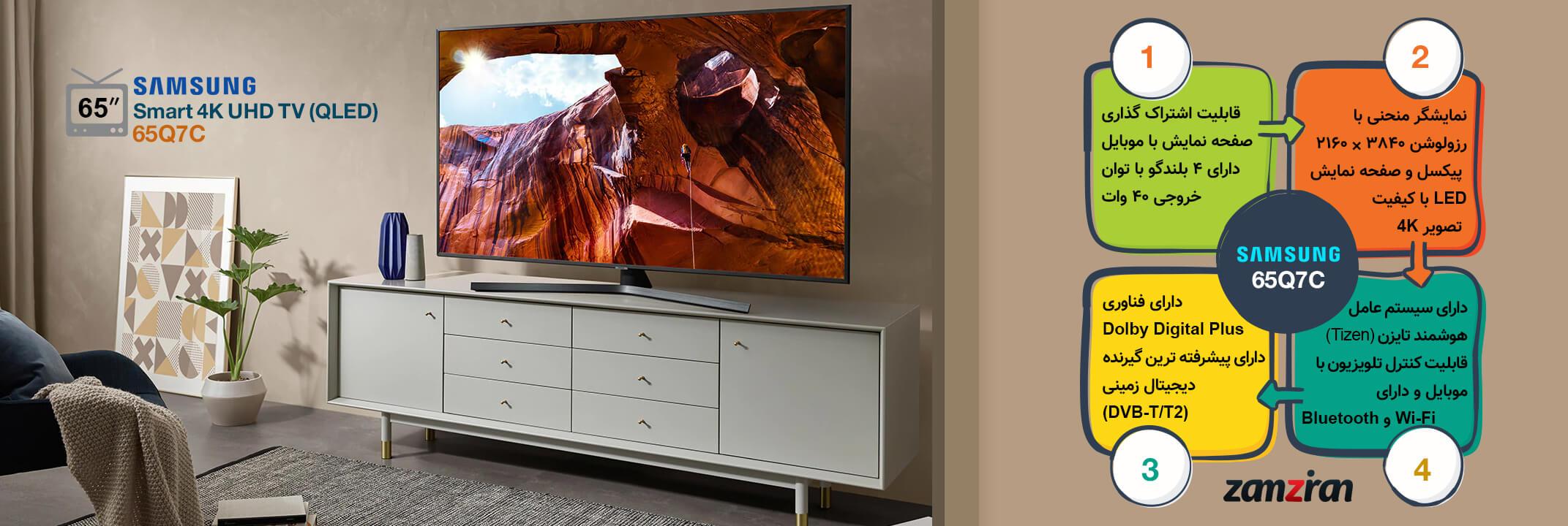 اینفوگرافی تلویزیون 65 اینچ سامسونگ Q7C