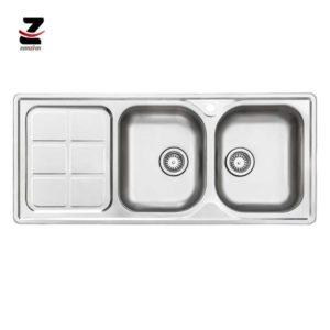 سینک ظرفشویی استیل البرز مدل 215 توکار نیمه فانتزی